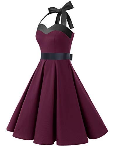 DRESSTELLS Damen Neckholder 1950er Vintage Retro Rockabilly Kleider Petticoat Faltenrock Cocktail Festliche Kleider Burgundy Black S - 3