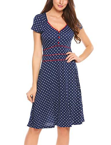ACEVOG Damen Vintage Gepunktetes Kleid Sommer Knielang mit Kurzarm V Ausschnitt elegant Jersey Kleid Freizeitkleid (M, Blau) - 2