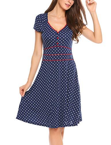 ACEVOG Damen Vintage Gepunktetes Kleid Sommer Knielang mit Kurzarm V Ausschnitt elegant Jersey Kleid Freizeitkleid (M, Blau) - 3