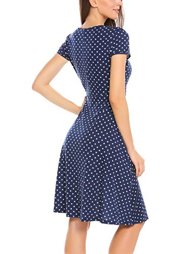 ACEVOG Damen Vintage Gepunktetes Kleid Sommer Knielang mit Kurzarm V Ausschnitt elegant Jersey Kleid Freizeitkleid (M, Blau) - 5
