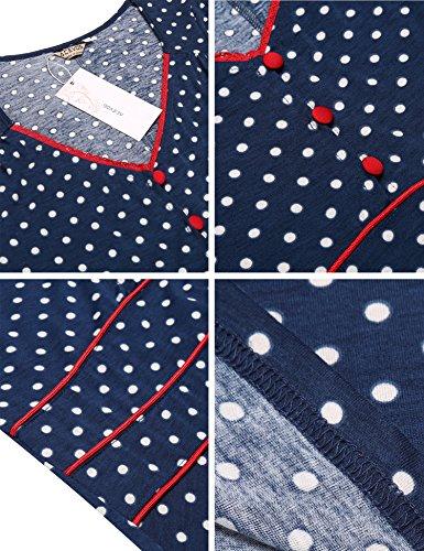 ACEVOG Damen Vintage Gepunktetes Kleid Sommer Knielang mit Kurzarm V Ausschnitt elegant Jersey Kleid Freizeitkleid (M, Blau) - 6