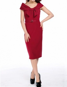 Bow Collar Pencil Dress