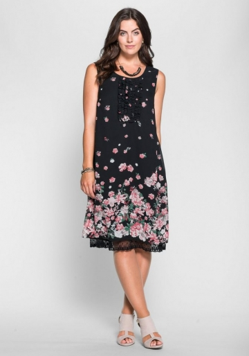 sheego Style Chiffonkleid mit Blütendruck