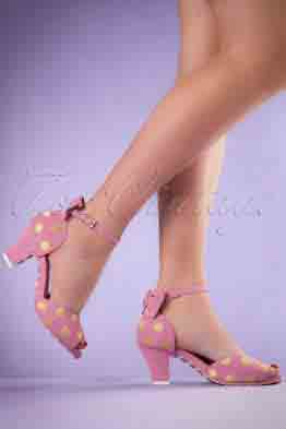 50s Ava Polkadot Suede Sandals in Pink