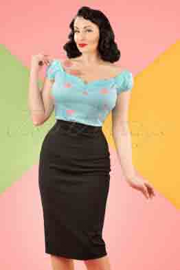 50s Joyce Pencil Skirt in Black