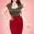 50s Joyce Pencil Skirt in Wine Red