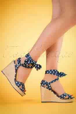 50s Poppie Heart Wedge Sandals in Blue