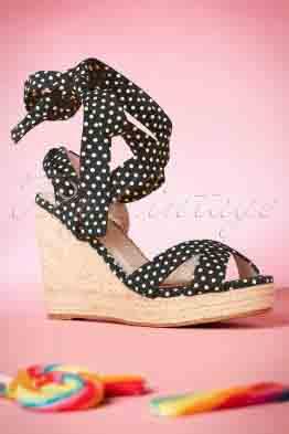 50s Poppie Polkadot Wedge Sandals in Black