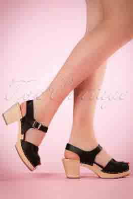 60s Loretta Leather Clogs in Black