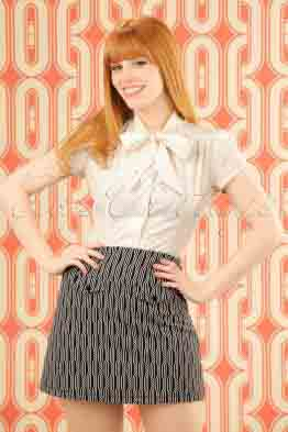 60s Lucie Spiral Skirt in Dark Navy
