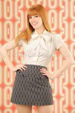60s Lucie Spiral Skirt in Dark Navy