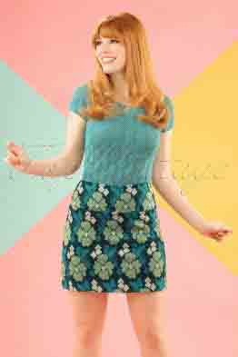 60s Olivia Extravaganza Skirt in Garden Green