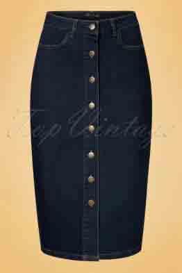 70s Rita Denim Pencil Skirt in Ink Blue