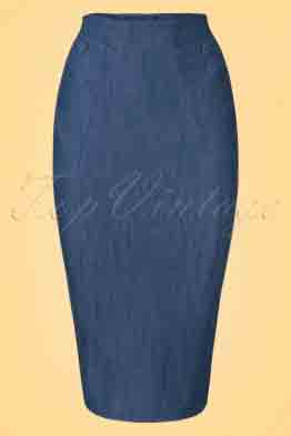 50s Nicky Lee Denim Pencil Skirt in Navy