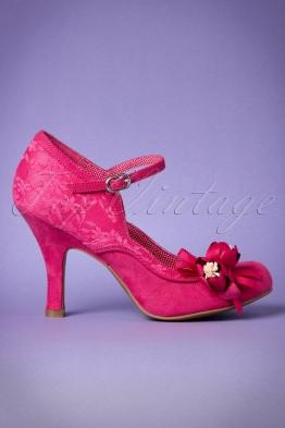 40s Silvia Pumps in Fuchsia Pink
