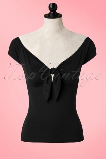 50s Bardot Top in Black