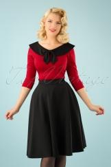 50s Beverly High Waist Swing Skirt in Black