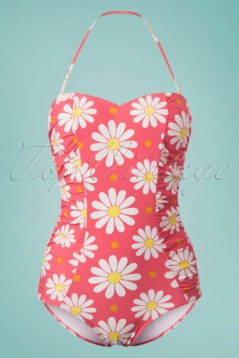 50s Crazy Daisy Halter Swimsuit in Coral Pink