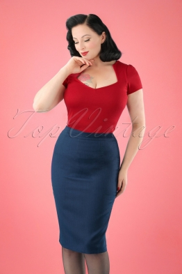50s Paula Pencil Skirt in Midnight Blue