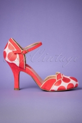 50s Phoebe Polkadot Pumps in Coral