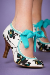50s Willow Floral Pumps in Aqua and Ivory