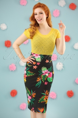 60s Nice Paradise Skirt in Black
