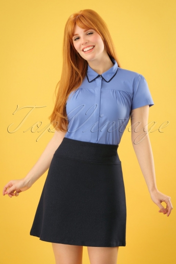 60s Sarah A-Line Skirt in Denim Blue